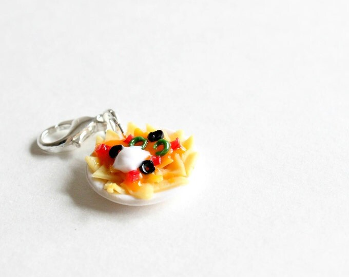 Featured listing image: Nachos Plate Charm - Stitch Marker - Progress Keeper - Zipper Pull - Planner Charm - READY TO SHIP