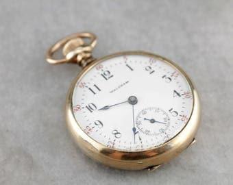 Antique Open Face Pocket Watch, Waltham Gold Filled Pocket Watch 9KPZK4-D