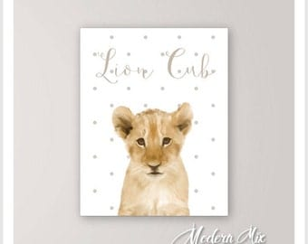Lion Cub Wall Art Print Baby Animal Nursery Art Lion Cub Safari Nursery Decor Animal Prints, Minimalist Kids Room Decor Nursery Animal Print