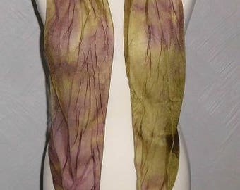 Soft Sheer Olive Green / Purple Scrunch Tie Dyed Scarf, Belt, Sash, Head Band Wrap, Skinny Tie Scarf, Pussy Bow Scarf