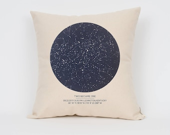 16 inch Custom Star Map Pillow, Night Sky Print, Cool Gift Idea, Gift for Him, Star Print, Romantic Gift, Wedding Gift, Engagement Gift
