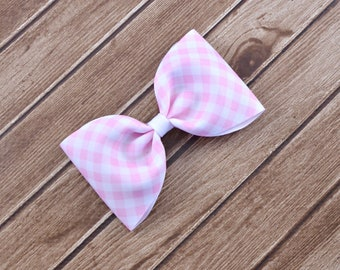 Pink Easter Hair Bows, Pink Easter Bows, Pink Hair Bows, Pink Plaid Bows, Pink Plaid Hair Bows, Pink Gingham Bows, Large Pink Hair Bows