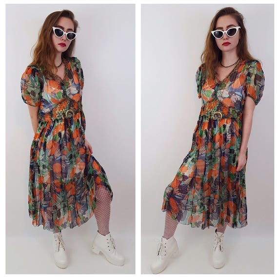 50's Vintage Sheer Floral Kitschy Retro Women's Dress - XSmall Small Rainbow Flower Pattern Midi Dress - 1950s VTG Sheer Spring Summer Midi
