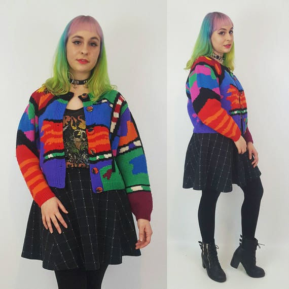 Vintage Rainbow Knit Sweater Medium Large - 80s Cardigan Allover Random Pattern - Multicolor Patterned Button Up Cardi