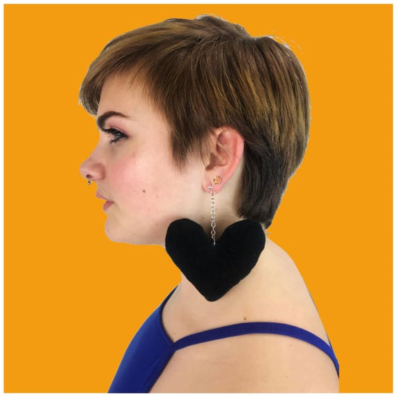 Black Heart Plush Earrings - Handmade Giant Statement Earrings- Large Funky Costume Jewelry - Black Goth Kawaii Black Heart Stuffed Jewelry