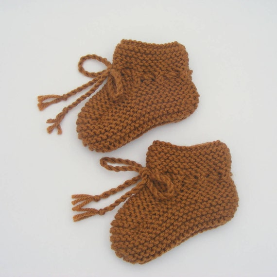 Hand Knitted Merino Wool Baby Booties in Toffee