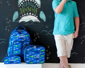 """Monogrammed """"Jaw-Some"""" Back to School Collection - Backpack, Lunch Tote, & Pencil Case"""
