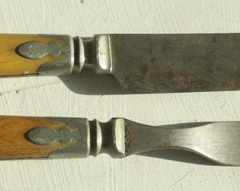 Victorian Kitchen Knife and Fork with Bone and Decorative Details