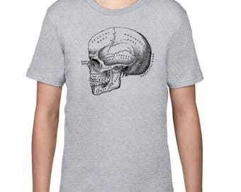 Kids Clothing, Anatomical Skull Tshirt, Anatomy T Shirt, Horror, Vintage Medical Illustration Tee, Youth, Childrens Clothes, Ringspun Cotton