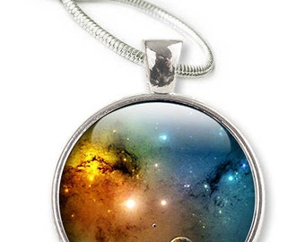 Space Necklace - Space Jewelry, Galaxy Glass Pendant - Necklace Universe solar system (NSE1)