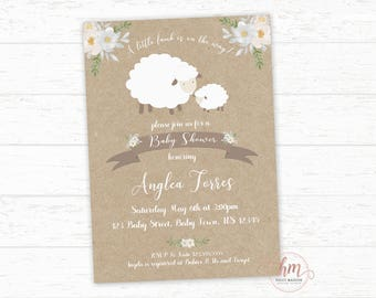 Floral Lamb Baby shower invitation, Little Lamb Invitation, Gender Neutral Baby Shower Invitation, PRINTABLE FILE