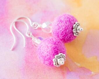 Pink Felted Ball Pom Pom Earrings with Translucent Beads and Silver Caps, Pom Pom Jewelry, Felt Jewelry, Fiber Jewelry