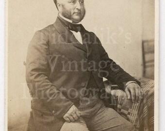 CDV Carte de Visite Photo Victorian Seated Large Man, Smart Suit Mutton Chops - F Treble of Salisbury England - Antique Photograph