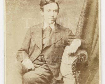 CDV Carte de Visite Photo Young Victorian Seated Handsome Man in Suit by T Pope of Birmingham England - Antique Photograph