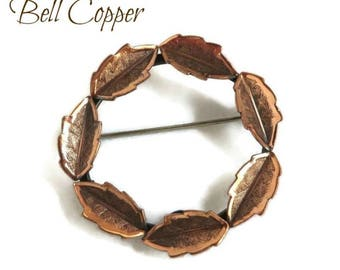 Copper Circle Brooch, Vintage Copper Leaf Pin, Copper Wreath Brooch, Genuine Copper Jewelry, Bell Copper