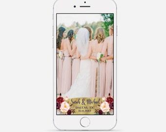 Navy Gold & Marsala Snapchat Geofilter, Navy And Gold Wedding Geofilter, Marsala Wedding Snapchat, Custom Wedding Snapchat Geofilter