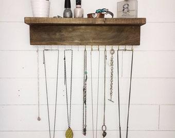 Wall Mount Jewelry Organizer, Necklace Holder with shelf