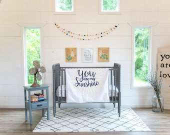 Baby blanket – You are my sunshine – black, yellow, white, grey, quote, words, letting, cuddle, modern, handmade, unique, play mat
