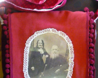 Red Pippa & Lies! bag with old fashioned photo