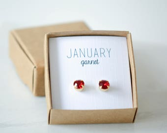 January Birthstone Earrings - Garnet Studs - Birtstone Studs - Birthstone Earrings - Birthstone Jewelry - Birthstone Ear Studs