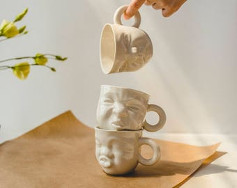 Face coffee mug,small ceramic mug,white porcelain cup,modern pottery,face coffee cup,face pottery,modern cup,modern tea cups,cute gift ideas