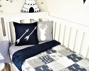 Patchwork quilt nursery items - Navy and grey geometric. arrows and deer: Cot quilt, cot fitted sheet, bunting, woodland nursery