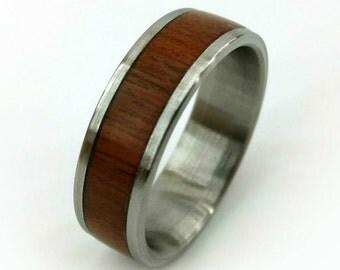Teak Titanium  Ring, Teak Wood Ring, Wood Ring, Titanium Ring, Unique Wood Ring, Teak Band, Exotic Wood Ring, Brazilian Teak Ring