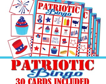 Patriotic Party Bingo Game, Fourth of July Party Game, Memorial Day Party, Patriotic Group Game, Independence Day Game, Patriotic Game