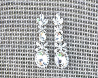 PENELOPE Crystal Bridal Earrings Wedding Long earrings Bridal chandeliers Bridesmaids Chandelier Great Gatsby Jewelry Crystal Earrings