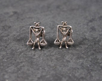 Vintage Sterling Libra Earrings 70s Old New Stock