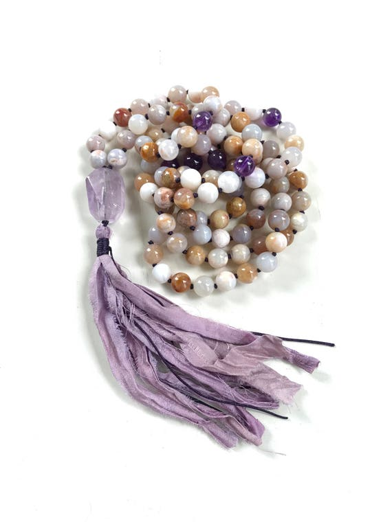 Mala Beads For Grounding and Centering, Mala For Calming Fears, Amethyst Mala Beads, Mala Beads 108, Mantra Mala Beads, Sari Silk Mala