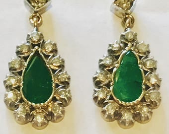 A Pair of Old Cut Diamond and Emerald Earrings set inSilver and Gold