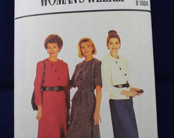 Sewing Pattern for a Woman's Dress, Jacket & Skirt in Size 10-14 - Woman's Weekly B1004