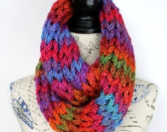 Winter knit Snood Rainbow Knit Scarf Multicolor Snood Super Chunky Scarf Womens Knit Infinity Chunky Scarf Gift Womens Oversized Knitting