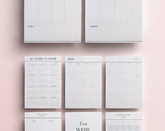 2018 Planner Inserts Printable: Monthly Planner, Weekly Planner, 2018 Printable Planner Pages, 2018 Daily Planner Set, A4 A5 US Letter