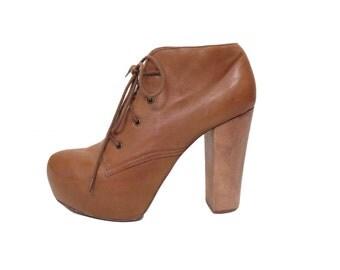Steve Madden Camel Brown Leather Platform Heels Size 8.5