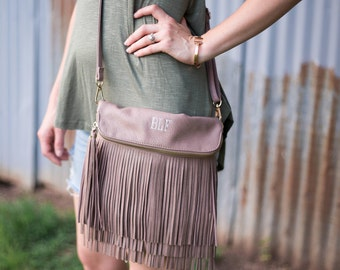 Monogrammed Crossbody Fringe Purse | Fringe Clutch | Fringe Purse | Monogram Crossbody | Crossbody Clutch | Faux Leather Fringe Bag | Austin
