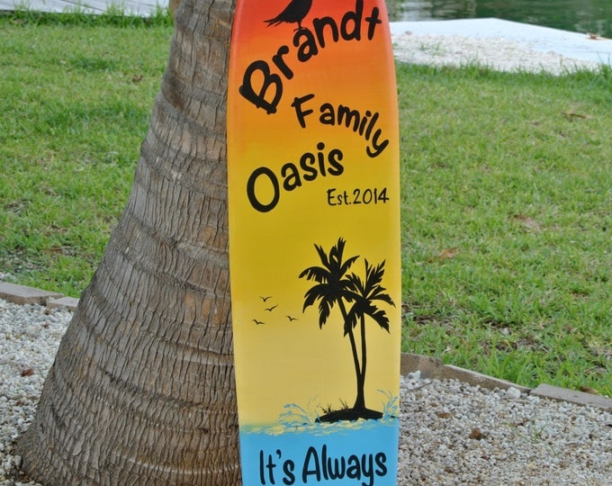 Family Oasis Wood sign. Surfboard Pool decor. Tiki Bar decor. Family gift ideas. Tropical Wood Wall Decor. Its 5 O'clock somewhere.