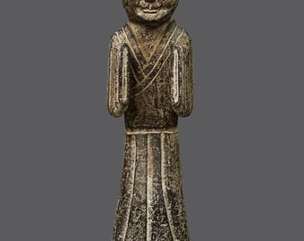 Vintage Stone Figurine Sculpture Monolithic Asian Statue Chinese Art Human Figure