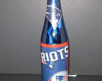 Hancrafted night light tissue paper decorated night light New England Patriots football wine bottle light