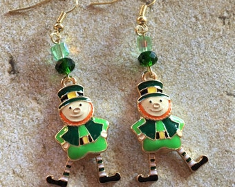 St Patrick's Jewelry, St Patrick's Earrings, Leprechaun Earrings, Green Earrings, Jewelry