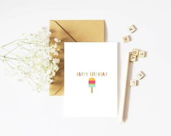 Birthday card, bday card, happy birthday, popsicle card, cute birthday card, cute card, birthday cards, card for her, ice cream card