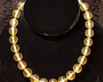 Vintage Yellow Plastic Bead Necklace