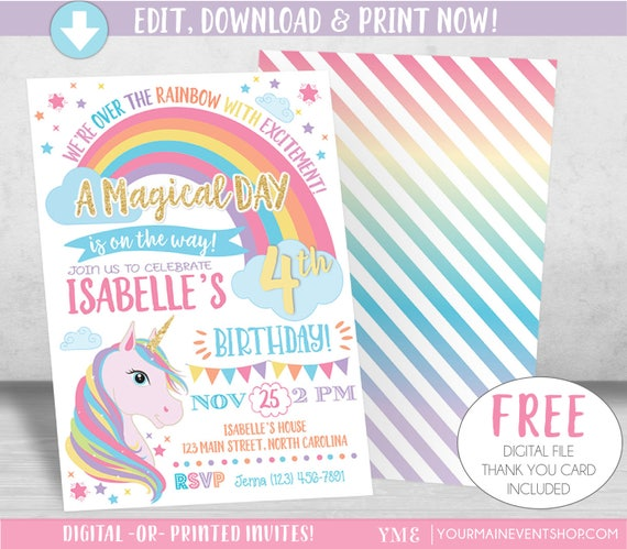 Unicorn Birthday Invitation, Unicorn Invitation, Rainbow Invitation, Rainbow Unicorn Birthday Invite Printable, Unicorn Party