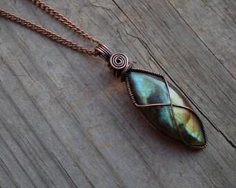 Sky Goddess Wire Wrapped Labradorite & Oxidized Copper Necklace