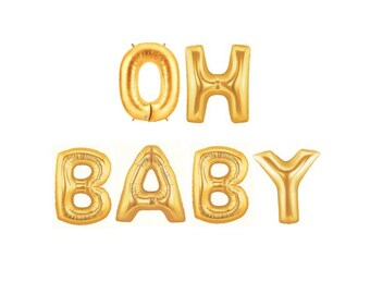 Oh Baby Balloon, Gold Letter Balloon