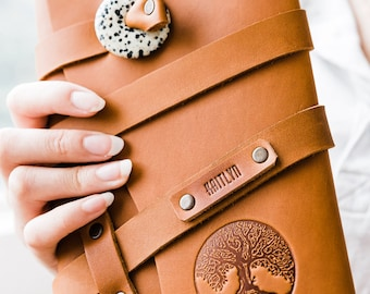50% OFF --  Personalized Leather Journal -- Tree of Life - Tree Firebrand Custom Leather Notebook Refillable Handmade Portland, Oregon!
