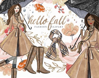 Fall Clip Art | Hand Drawn Autumn Flowers Rain Glitter Boots Umbrella Scarf Graphics | Planner Stickers, Planner Girl | Digital Cliparts