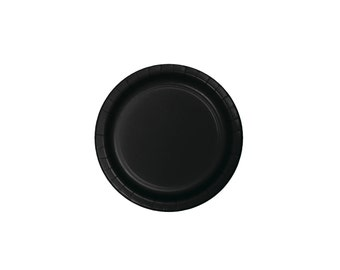 "9"" Black Plates - Party Plates - Paper Plates - Tableware - Party Decorations - Black Party Supplies - Birthday Party - Black and White"