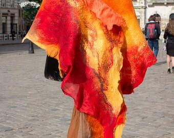 Art scarves Nuno felt scarf, wool scarf, nuno felt wrap,felted silk scarf, nunofelting scarf,silk, boho,  wool shawl, Handfasting, OOAK